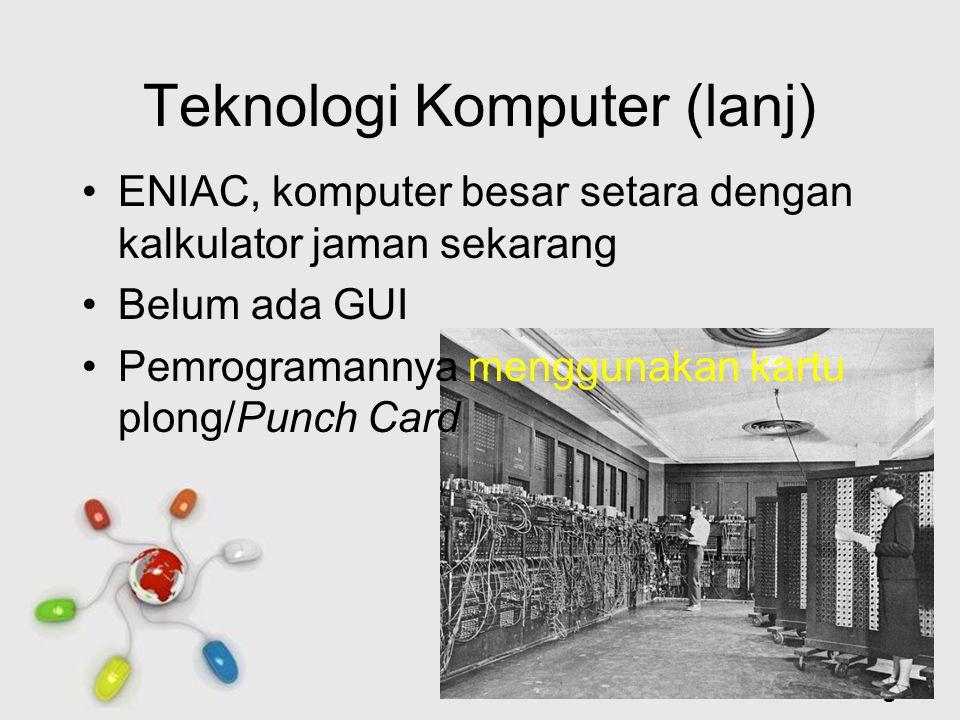 Free Powerpoint Templates Page 4 Teknologi Komputer (lanj) ENIAC, komputer besar setara dengan kalkulator jaman sekarang Belum ada GUI Pemrogramannya