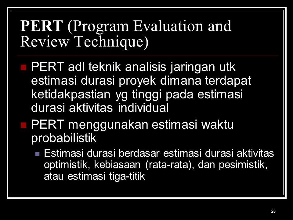 20 PERT (Program Evaluation and Review Technique) PERT adl teknik analisis jaringan utk estimasi durasi proyek dimana terdapat ketidakpastian yg tinggi pada estimasi durasi aktivitas individual PERT menggunakan estimasi waktu probabilistik Estimasi durasi berdasar estimasi durasi aktivitas optimistik, kebiasaan (rata-rata), dan pesimistik, atau estimasi tiga-titik