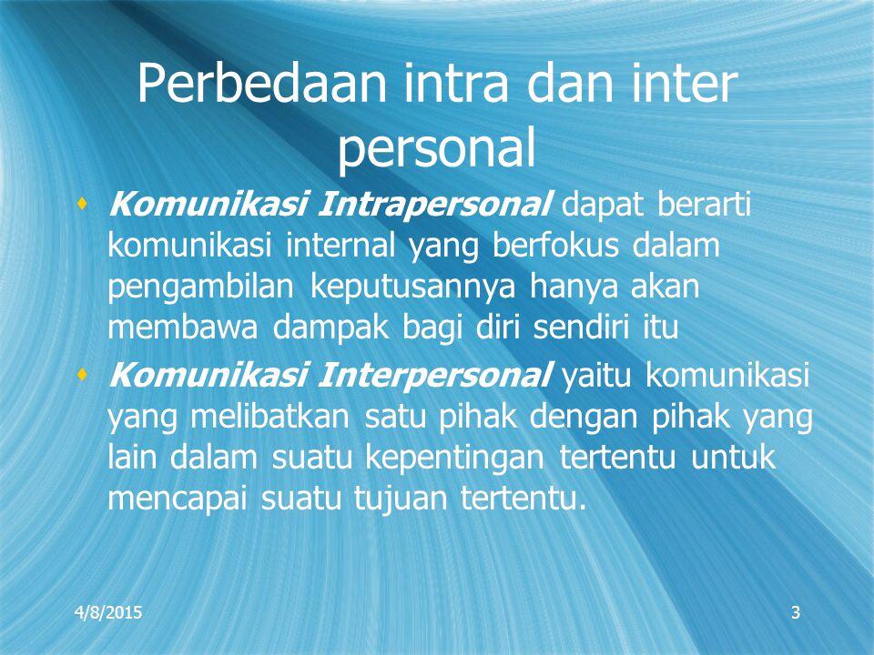 Perbedaan intra dan inter personal  Komunikasi Intrapersonal dapat berarti komunikasi internal yang berfokus dalam pengambilan keputusannya hanya aka