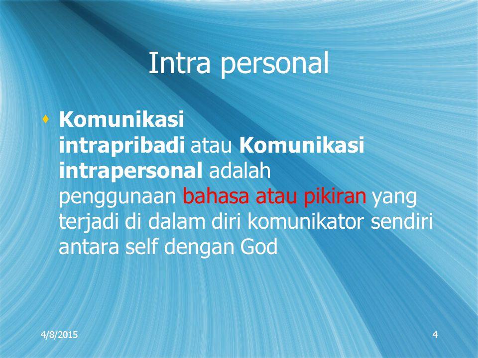Intra personal  Komunikasi intrapribadi atau Komunikasi intrapersonal adalah penggunaan bahasa atau pikiran yang terjadi di dalam diri komunikator se