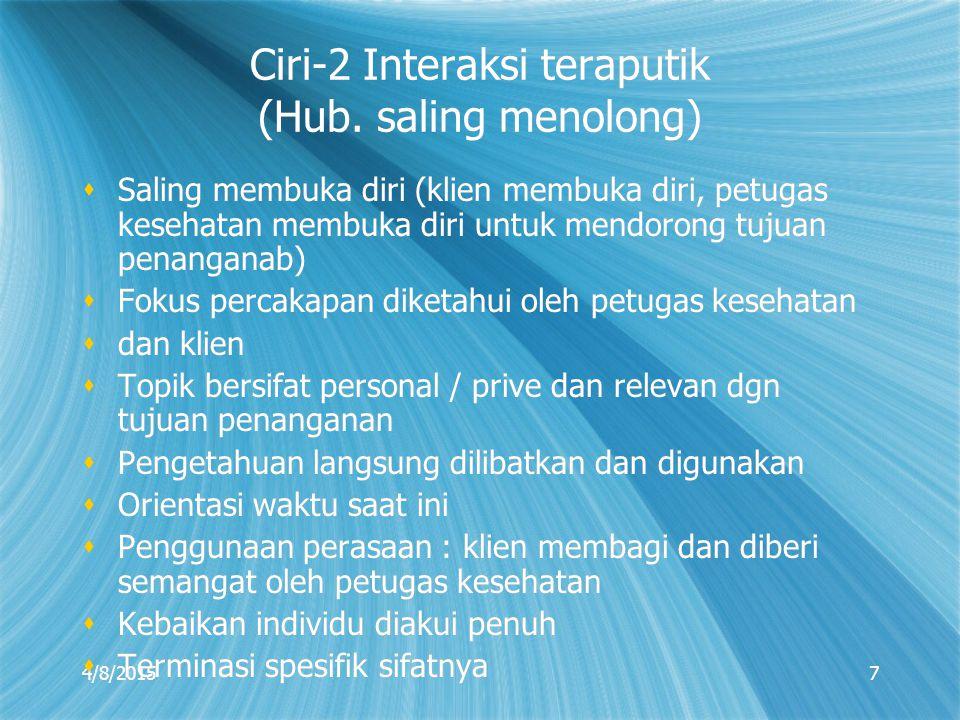 4/8/20157 Ciri-2 Interaksi teraputik (Hub. saling menolong)  Saling membuka diri (klien membuka diri, petugas kesehatan membuka diri untuk mendorong