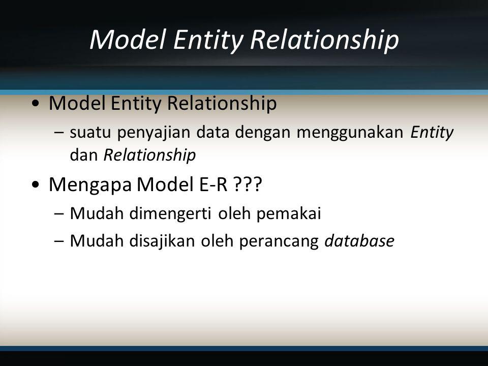 Model Entity Relationship –suatu penyajian data dengan menggunakan Entity dan Relationship Mengapa Model E-R ??.
