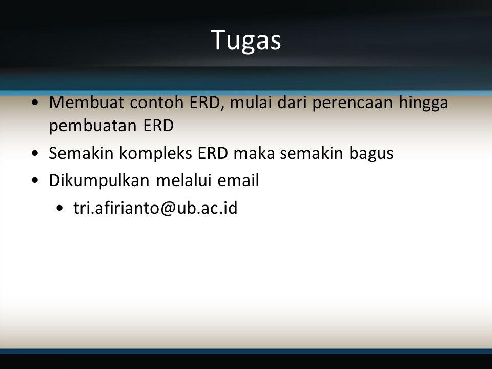 Tugas Membuat contoh ERD, mulai dari perencaan hingga pembuatan ERD Semakin kompleks ERD maka semakin bagus Dikumpulkan melalui email tri.afirianto@ub.ac.id