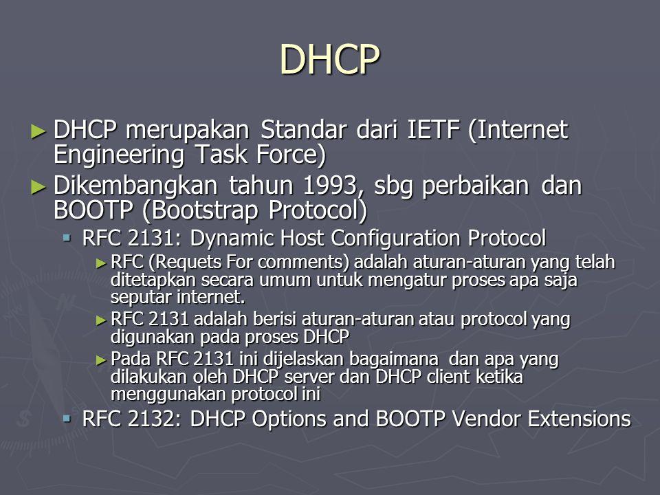 DHCP ► DHCP merupakan Standar dari IETF (Internet Engineering Task Force) ► Dikembangkan tahun 1993, sbg perbaikan dan BOOTP (Bootstrap Protocol)  RF