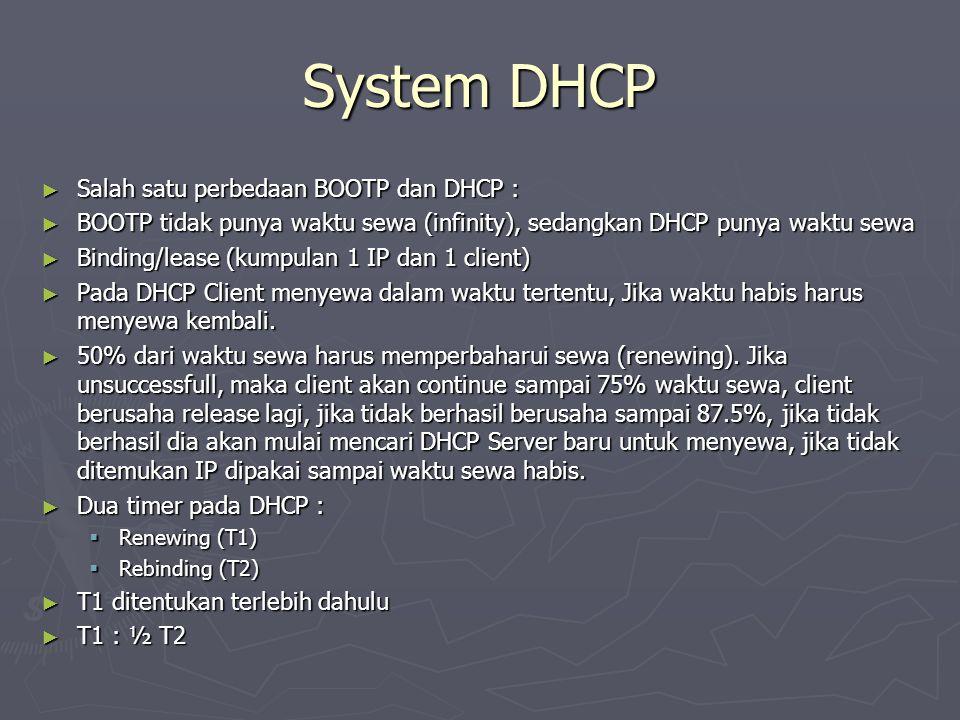 System DHCP ► Salah satu perbedaan BOOTP dan DHCP : ► BOOTP tidak punya waktu sewa (infinity), sedangkan DHCP punya waktu sewa ► Binding/lease (kumpul