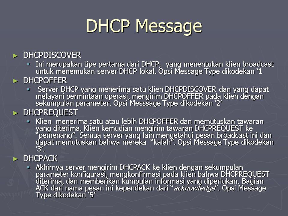 DHCP Message ► DHCPDISCOVER  Ini merupakan tipe pertama dari DHCP, yang menentukan klien broadcast untuk menemukan server DHCP lokal. Opsi Message Ty