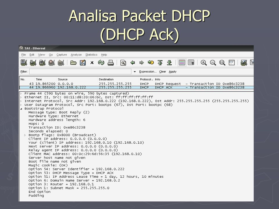 Analisa Packet DHCP (DHCP Ack)