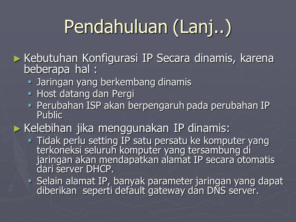 Pendahuluan (Lanj..) ► Kebutuhan Konfigurasi IP Secara dinamis, karena beberapa hal :  Jaringan yang berkembang dinamis  Host datang dan Pergi  Per