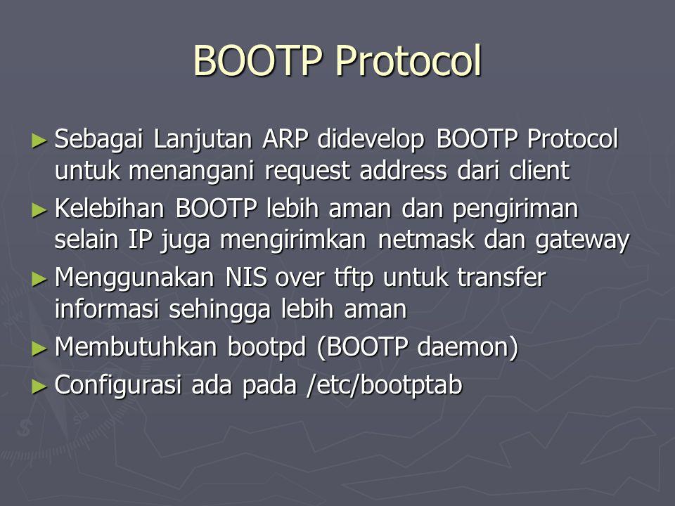 BOOTP Protocol ► Sebagai Lanjutan ARP didevelop BOOTP Protocol untuk menangani request address dari client ► Kelebihan BOOTP lebih aman dan pengiriman