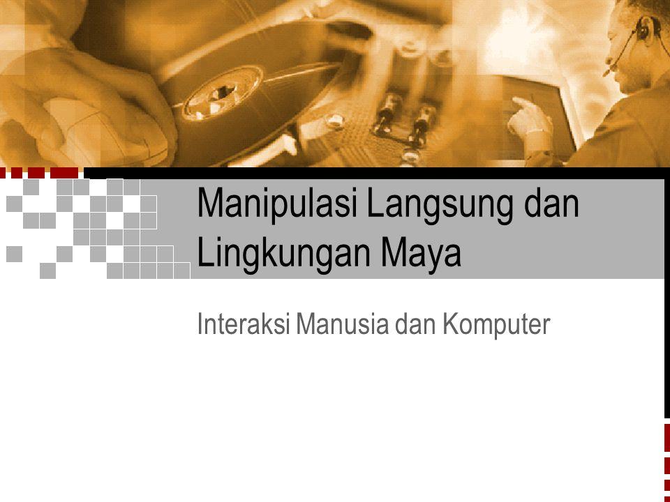 IMK Sesi 52/33 Topik Bahasan  Manipulasi langsung  Contoh-contoh sistem manipulasi langsung  Penjelasan tentang manipulasi langsung  Pemikiran visual dan ikon  Pemrograman manipulasi langsung  Manipulasi langsung remote  Lingkungan maya
