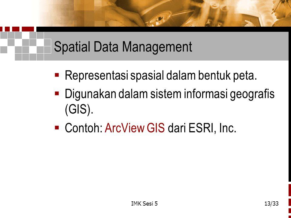 IMK Sesi 513/33 Spatial Data Management  Representasi spasial dalam bentuk peta.  Digunakan dalam sistem informasi geografis (GIS).  Contoh: ArcVie