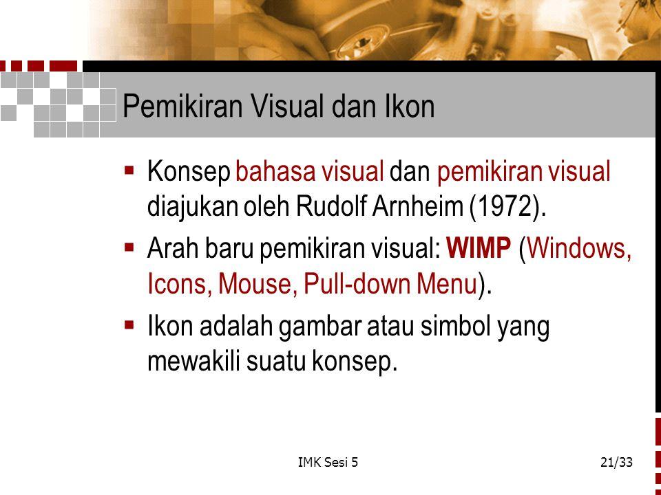 IMK Sesi 521/33 Pemikiran Visual dan Ikon  Konsep bahasa visual dan pemikiran visual diajukan oleh Rudolf Arnheim (1972).  Arah baru pemikiran visua