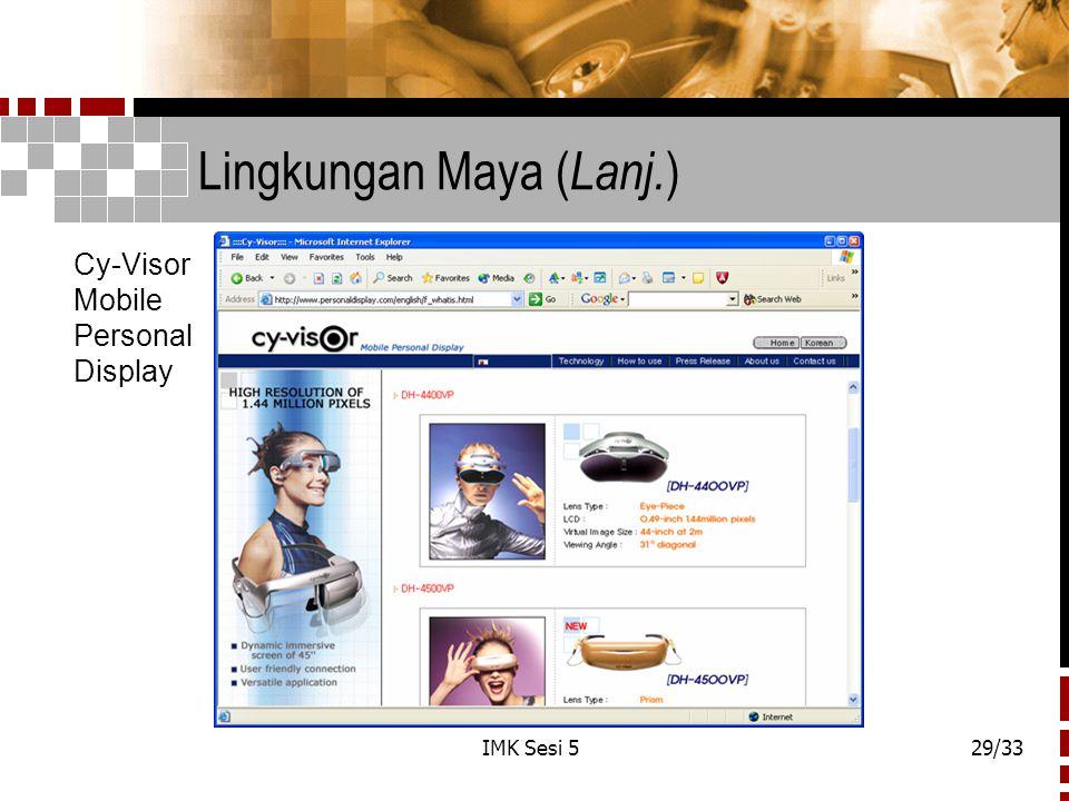 IMK Sesi 529/33 Lingkungan Maya ( Lanj. ) Cy-Visor Mobile Personal Display
