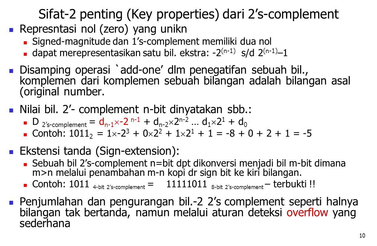 10 Represntasi nol (zero) yang unikn Signed-magnitude dan 1's-complement memiliki dua nol dapat merepresentasikan satu bil. ekstra: -2 (n-1) s/d 2 (n-