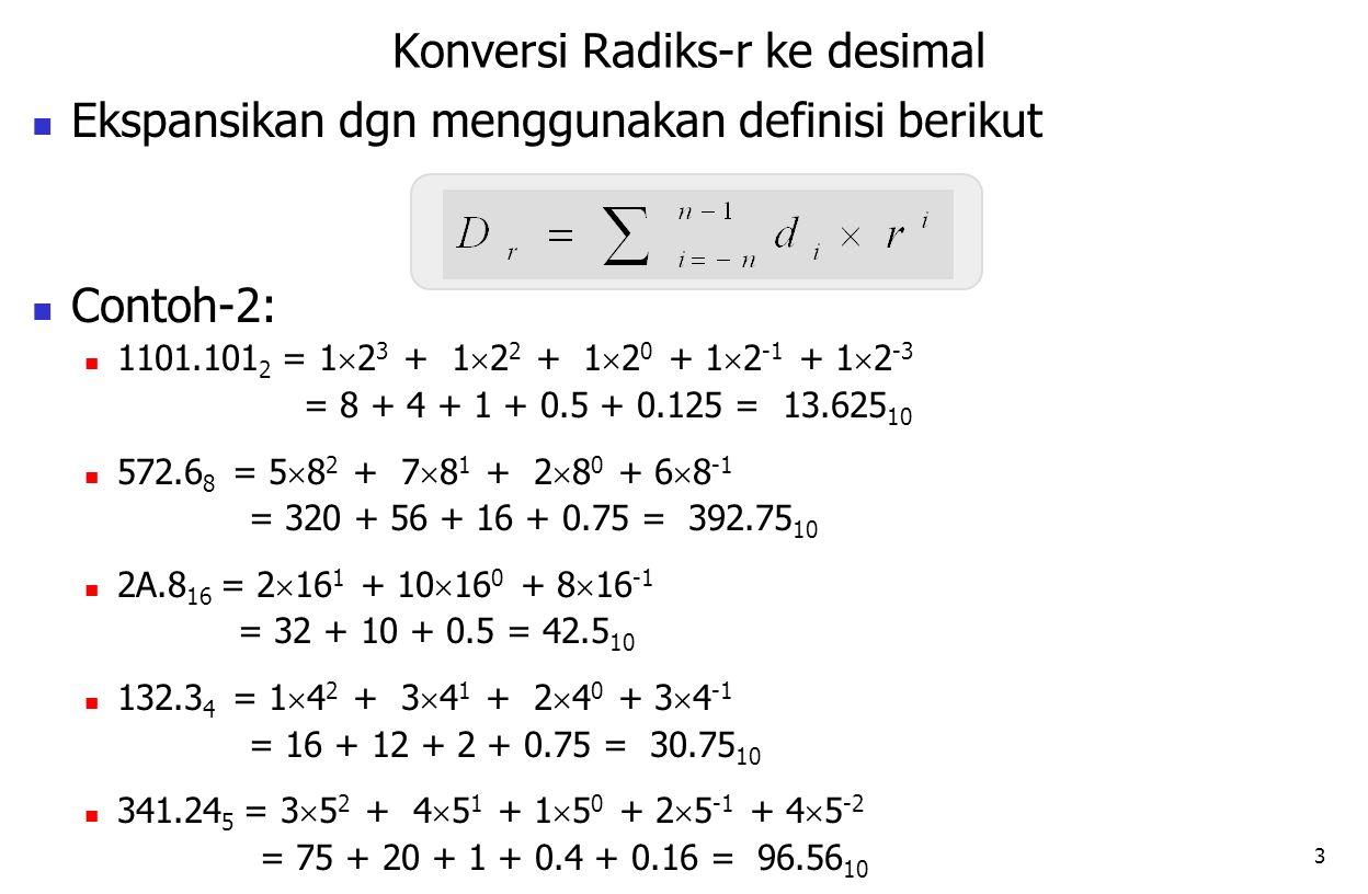 3 Ekspansikan dgn menggunakan definisi berikut Contoh-2: 1101.101 2 = 1  2 3 + 1  2 2 + 1  2 0 + 1  2 -1 + 1  2 -3 = 8 + 4 + 1 + 0.5 + 0.125 = 13