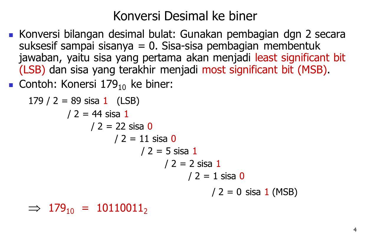 4 Konversi bilangan desimal bulat: Gunakan pembagian dgn 2 secara suksesif sampai sisanya = 0. Sisa-sisa pembagian membentuk jawaban, yaitu sisa yang