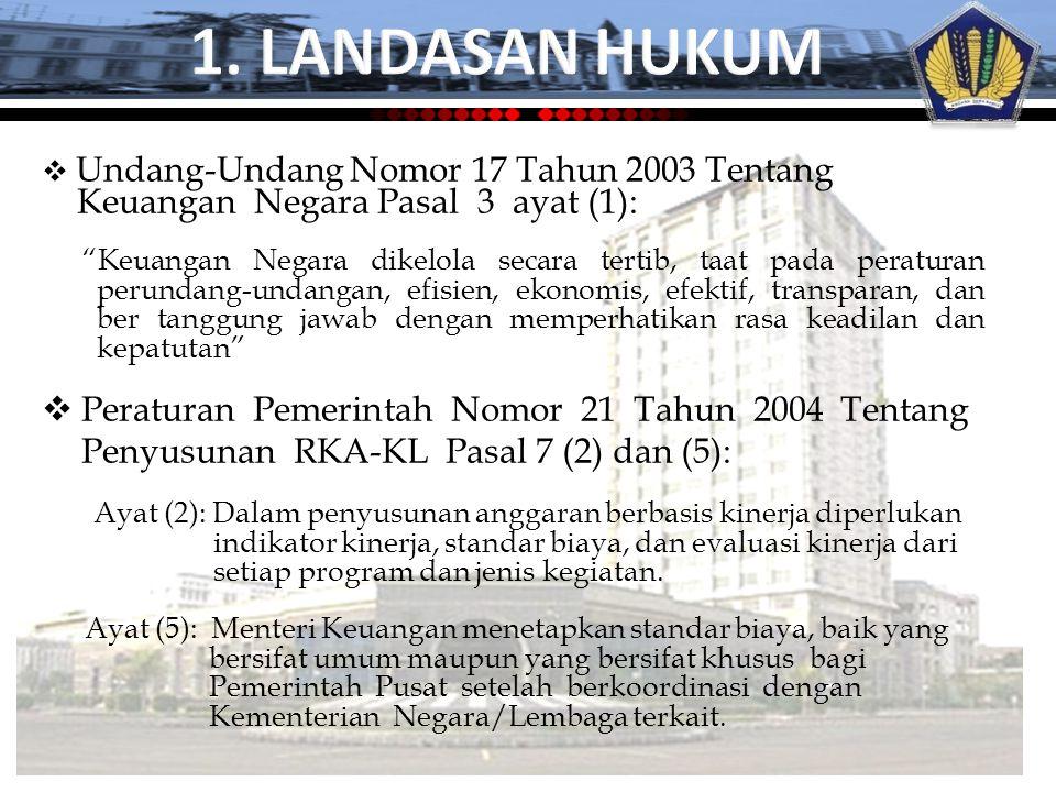  Undang-Undang Nomor 17 Tahun 2003 Tentang Keuangan Negara Pasal 3 ayat (1):  Peraturan Pemerintah Nomor 21 Tahun 2004 Tentang Penyusunan RKA-KL Pas