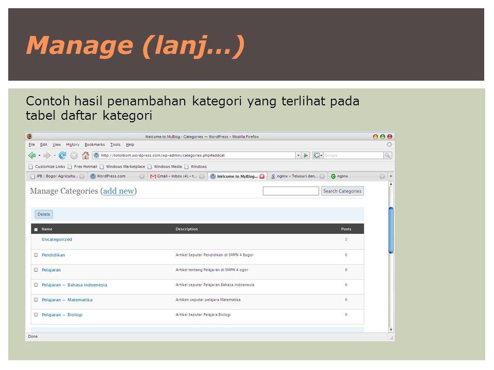 Manage (lanj…) Contoh hasil penambahan kategori yang terlihat pada tabel daftar kategori