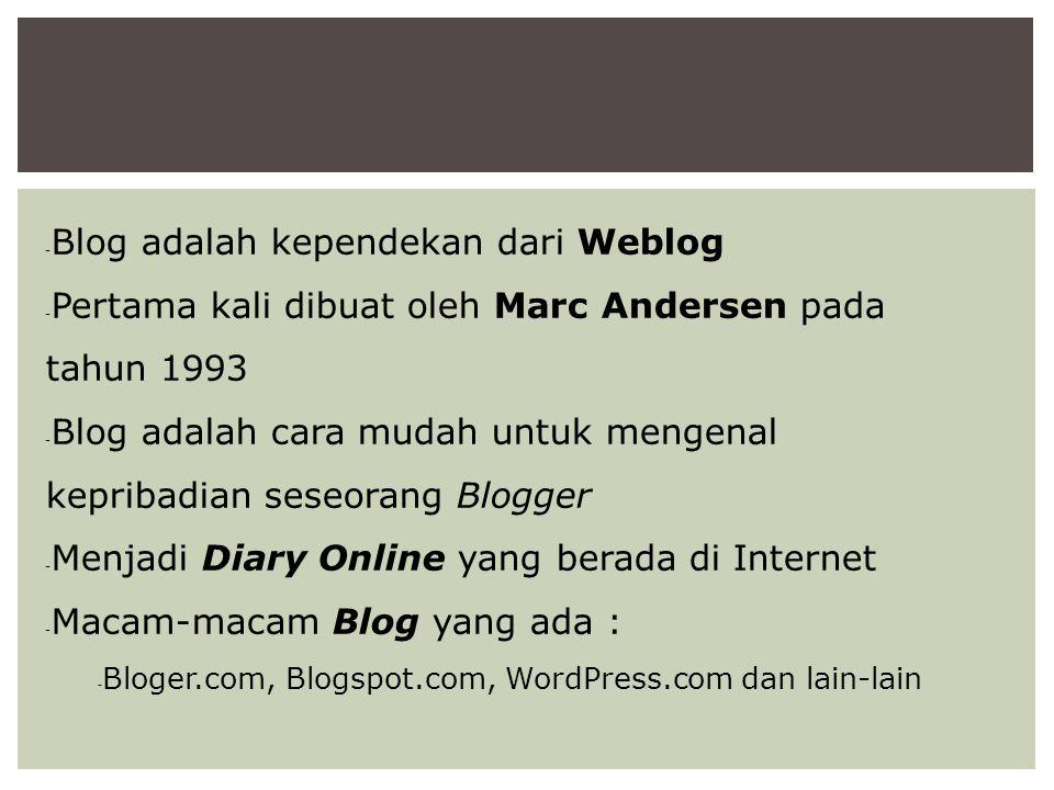  Blog adalah kependekan dari Weblog  Pertama kali dibuat oleh Marc Andersen pada tahun 1993  Blog adalah cara mudah untuk mengenal kepribadian sese