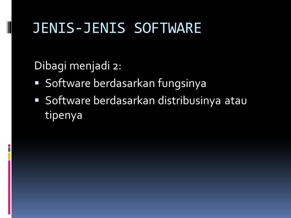 JENIS-JENIS SOFTWARE (lanj) 1.