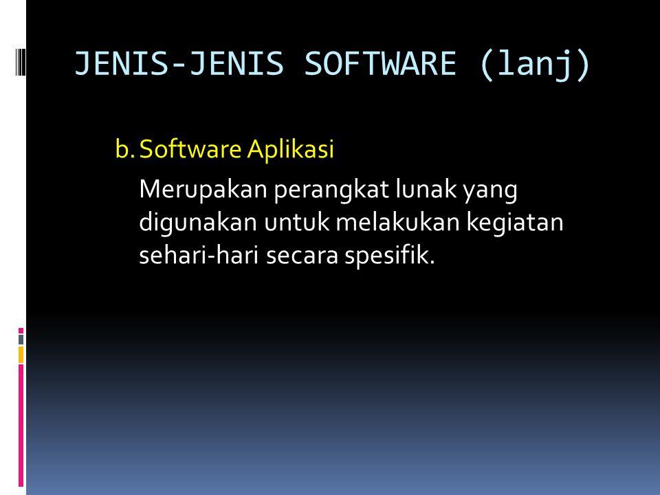 JENIS-JENIS SOFTWARE (lanj) Contoh software aplikasi:  Software pengolah kata  Software pengolah angka  Software pengolah gambar/grafis  Software pengolah video  Software pengolah data  Software presentasi  Software Multimedia  Software Internet  Software animasi