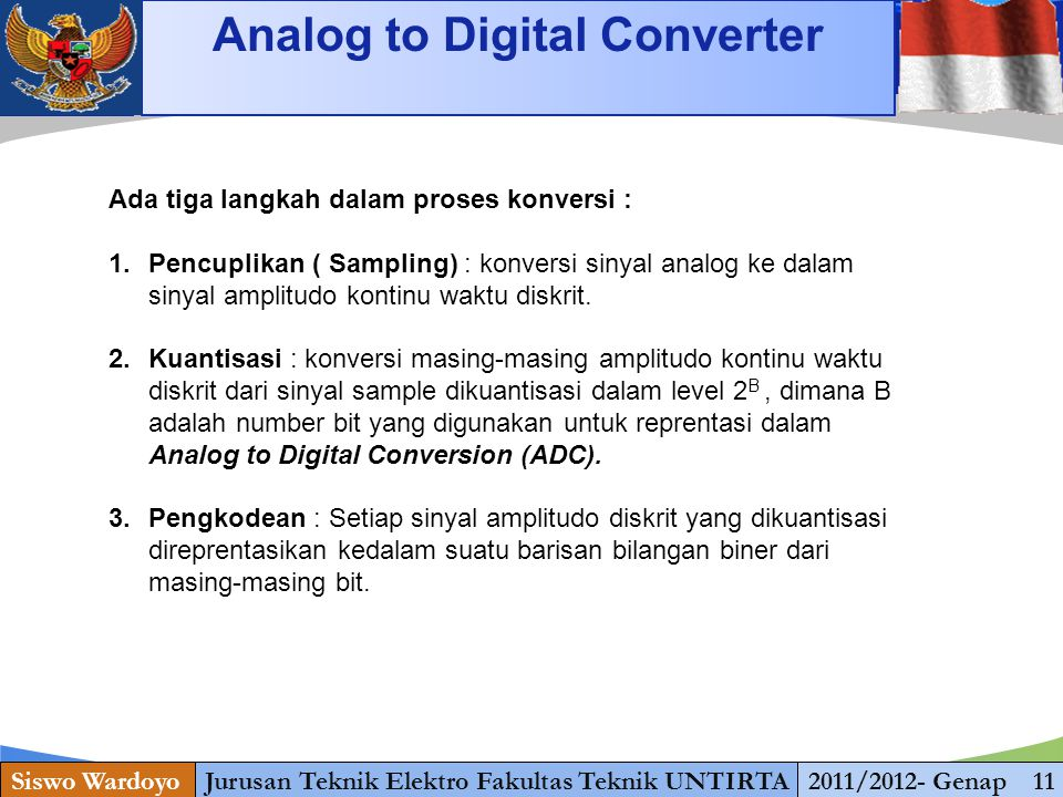 www.themegallery.com Analog to Digital Converter Siswo WardoyoJurusan Teknik Elektro Fakultas Teknik UNTIRTA2011/2012- Genap 11 Ada tiga langkah dalam