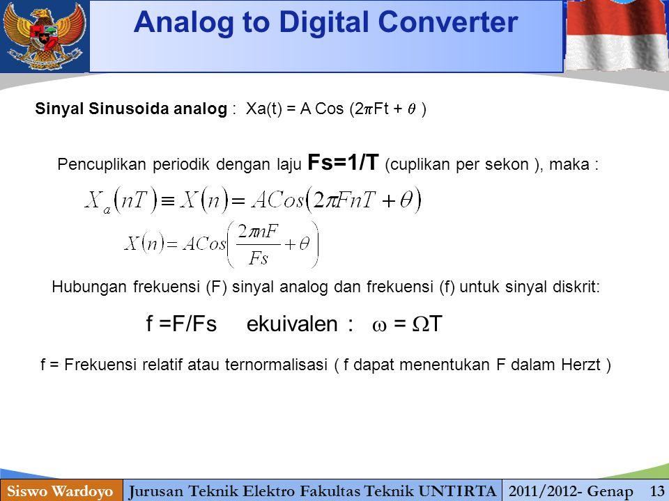 www.themegallery.com Analog to Digital Converter Siswo WardoyoJurusan Teknik Elektro Fakultas Teknik UNTIRTA2011/2012- Genap 13 Sinyal Sinusoida analo