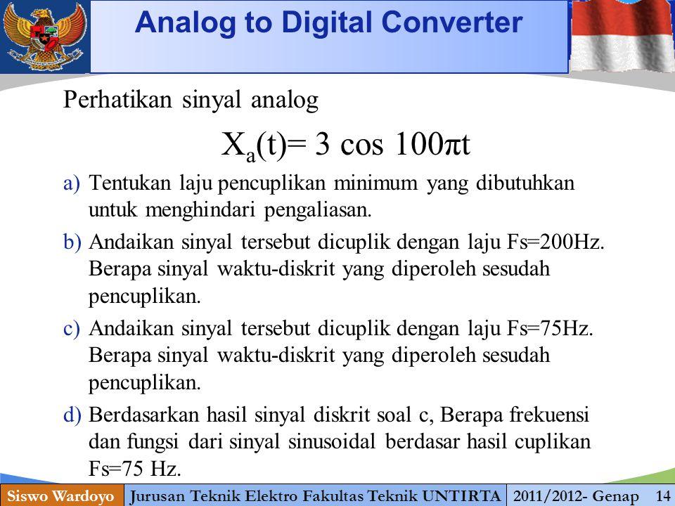 www.themegallery.com Analog to Digital Converter Siswo WardoyoJurusan Teknik Elektro Fakultas Teknik UNTIRTA2011/2012- Genap 14 Perhatikan sinyal anal