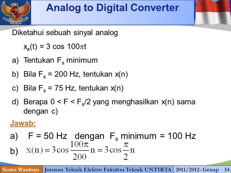 www.themegallery.com Analog to Digital Converter Siswo WardoyoJurusan Teknik Elektro Fakultas Teknik UNTIRTA2011/2012- Genap 14 Diketahui sebuah sinya