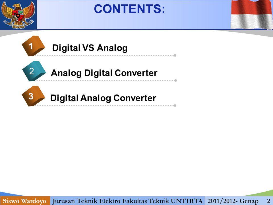 www.themegallery.com Digital VS Analog 1 Analog Digital Converter 2 Digital Analog Converter 3 CONTENTS: Siswo WardoyoJurusan Teknik Elektro Fakultas