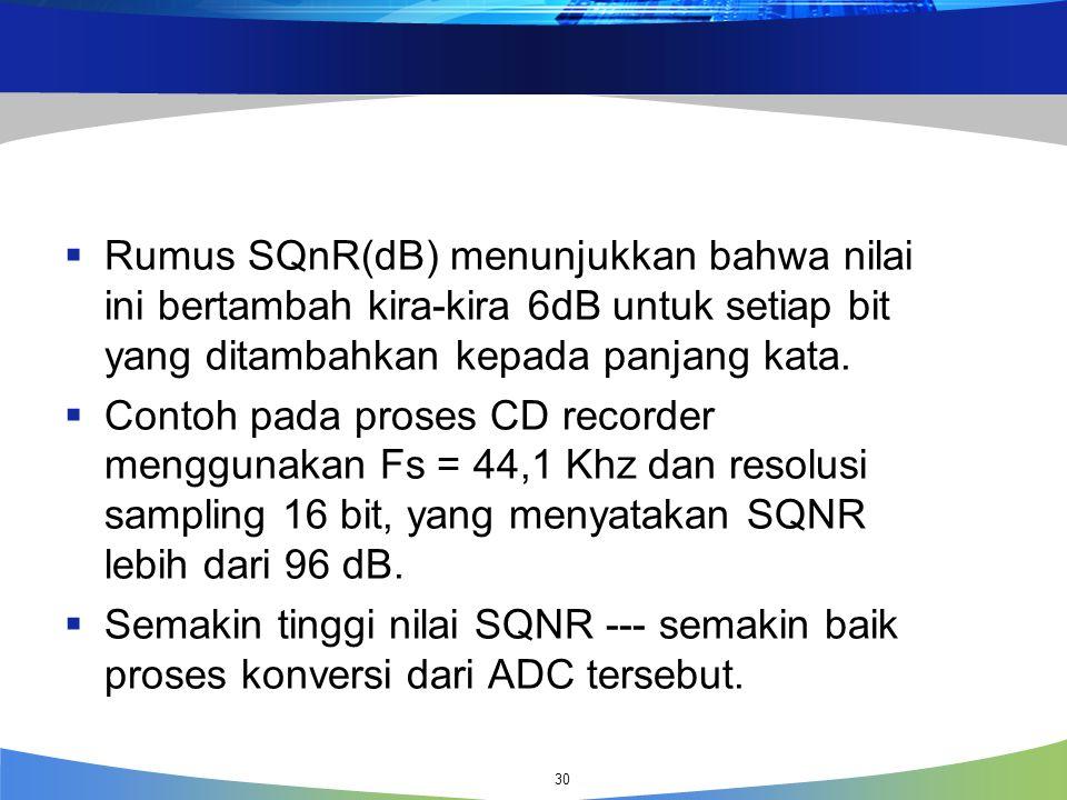  Rumus SQnR(dB) menunjukkan bahwa nilai ini bertambah kira-kira 6dB untuk setiap bit yang ditambahkan kepada panjang kata.  Contoh pada proses CD re