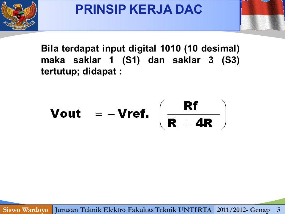 www.themegallery.com PRINSIP KERJA DAC Siswo WardoyoJurusan Teknik Elektro Fakultas Teknik UNTIRTA2011/2012- Genap 5 Bila terdapat input digital 1010