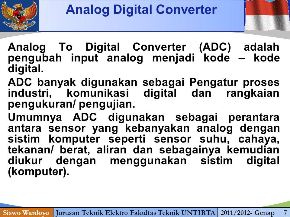 www.themegallery.com PRINSIP KERJA ADC Siswo WardoyoJurusan Teknik Elektro Fakultas Teknik UNTIRTA2011/2012- Genap 5 Dari tiga jenis ADC diatas, sudah banyak terdapat ADC yang terintegrasi menjadi suatu serpih (IC) yang mudah dalam penggunaannya.