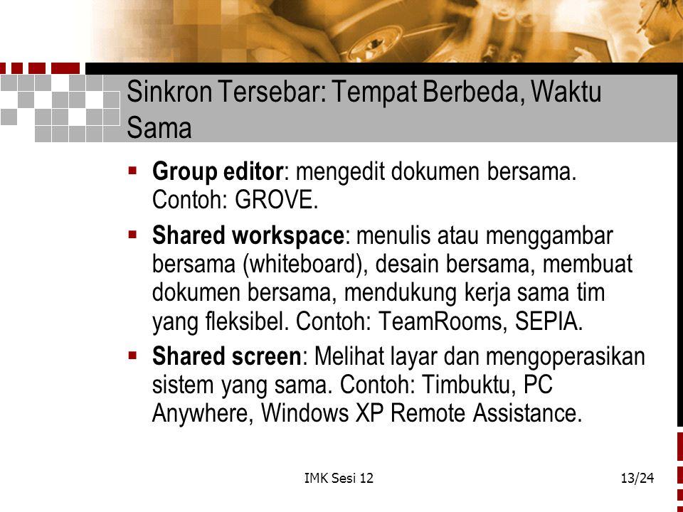 IMK Sesi 1213/24 Sinkron Tersebar: Tempat Berbeda, Waktu Sama  Group editor : mengedit dokumen bersama. Contoh: GROVE.  Shared workspace : menulis a