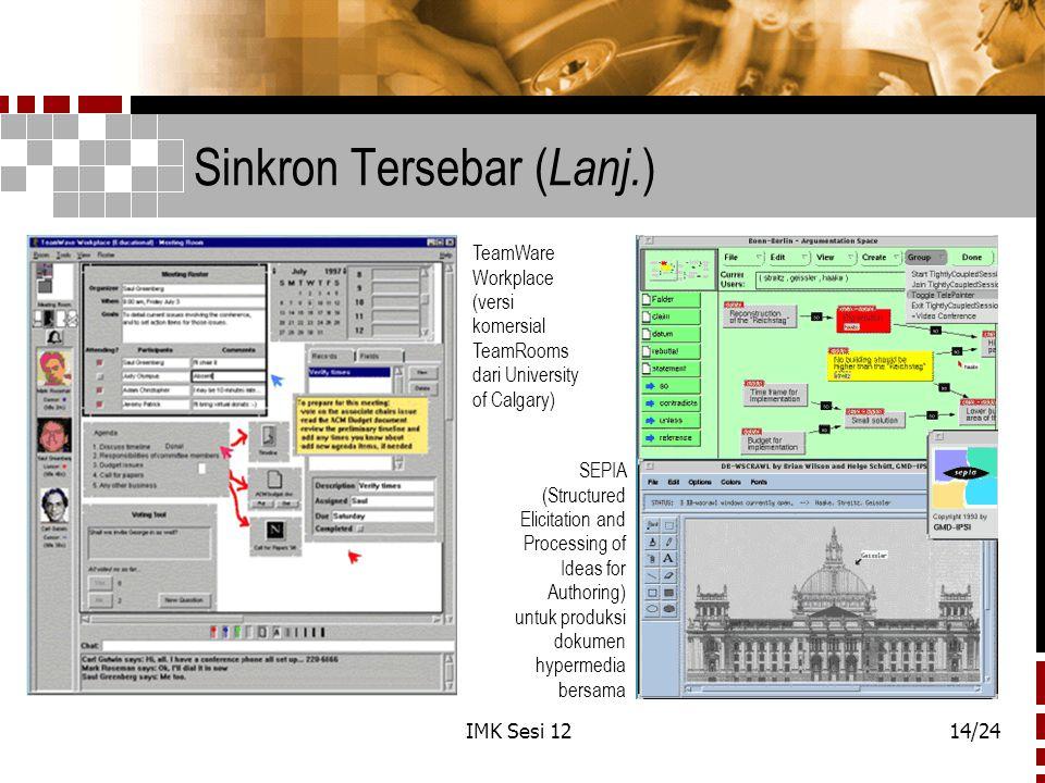 IMK Sesi 1214/24 Sinkron Tersebar ( Lanj. ) TeamWare Workplace (versi komersial TeamRooms dari University of Calgary) SEPIA (Structured Elicitation an