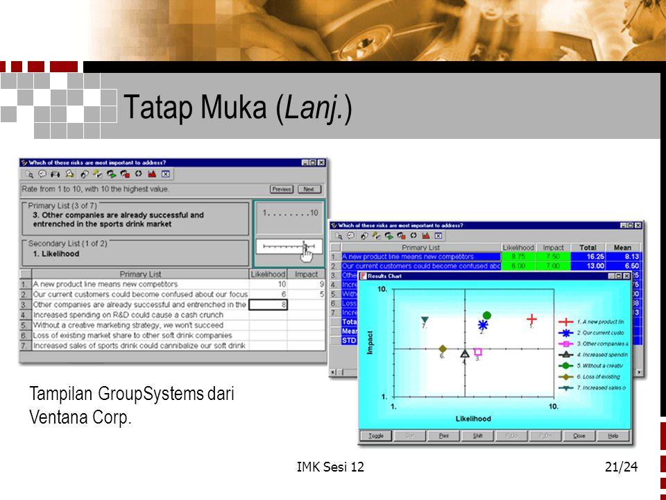IMK Sesi 1221/24 Tatap Muka ( Lanj. ) Tampilan GroupSystems dari Ventana Corp.