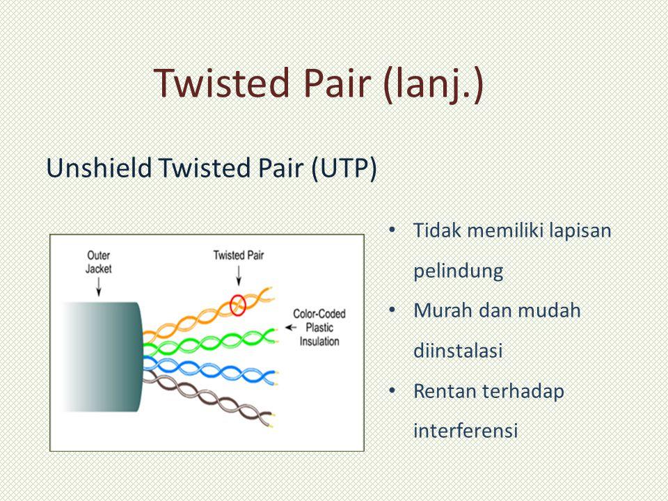 Twisted Pair (lanj.) Unshield Twisted Pair (UTP) Tidak memiliki lapisan pelindung Murah dan mudah diinstalasi Rentan terhadap interferensi