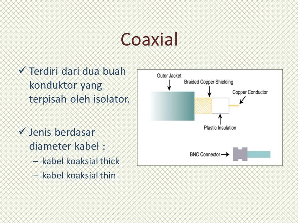Coaxial Terdiri dari dua buah konduktor yang terpisah oleh isolator. Jenis berdasar diameter kabel : – kabel koaksial thick – kabel koaksial thin