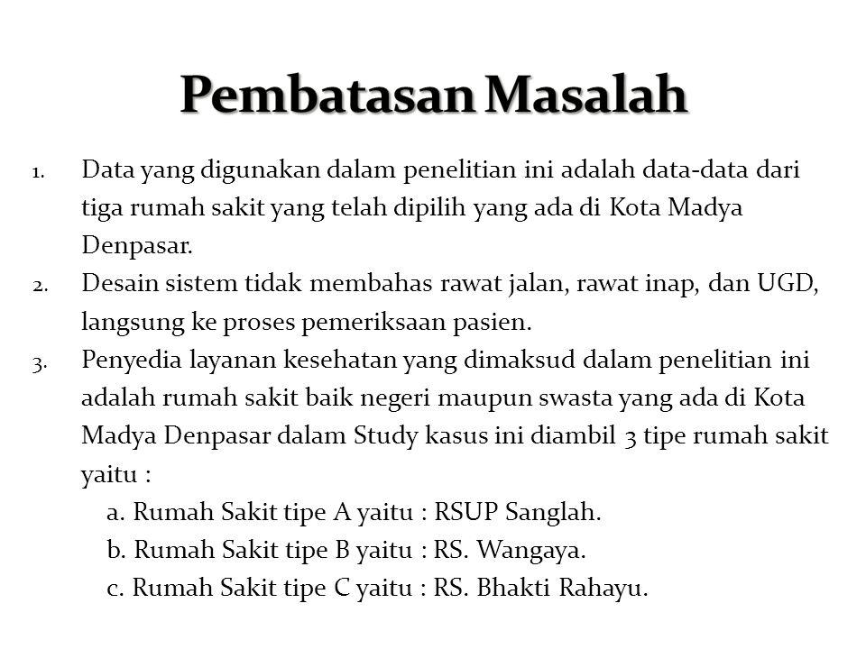 1. Data yang digunakan dalam penelitian ini adalah data-data dari tiga rumah sakit yang telah dipilih yang ada di Kota Madya Denpasar. 2. Desain siste
