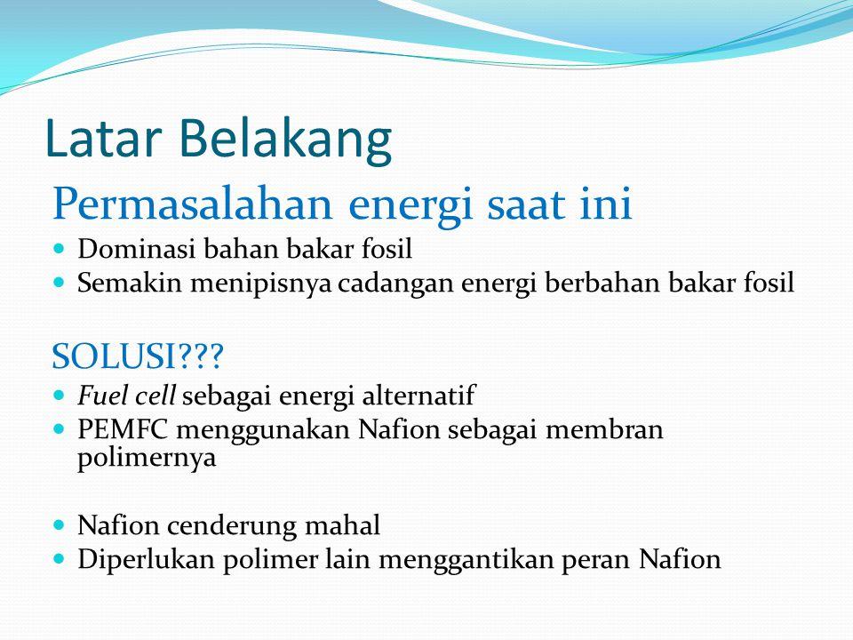 Latar Belakang Permasalahan energi saat ini Dominasi bahan bakar fosil Semakin menipisnya cadangan energi berbahan bakar fosil SOLUSI .