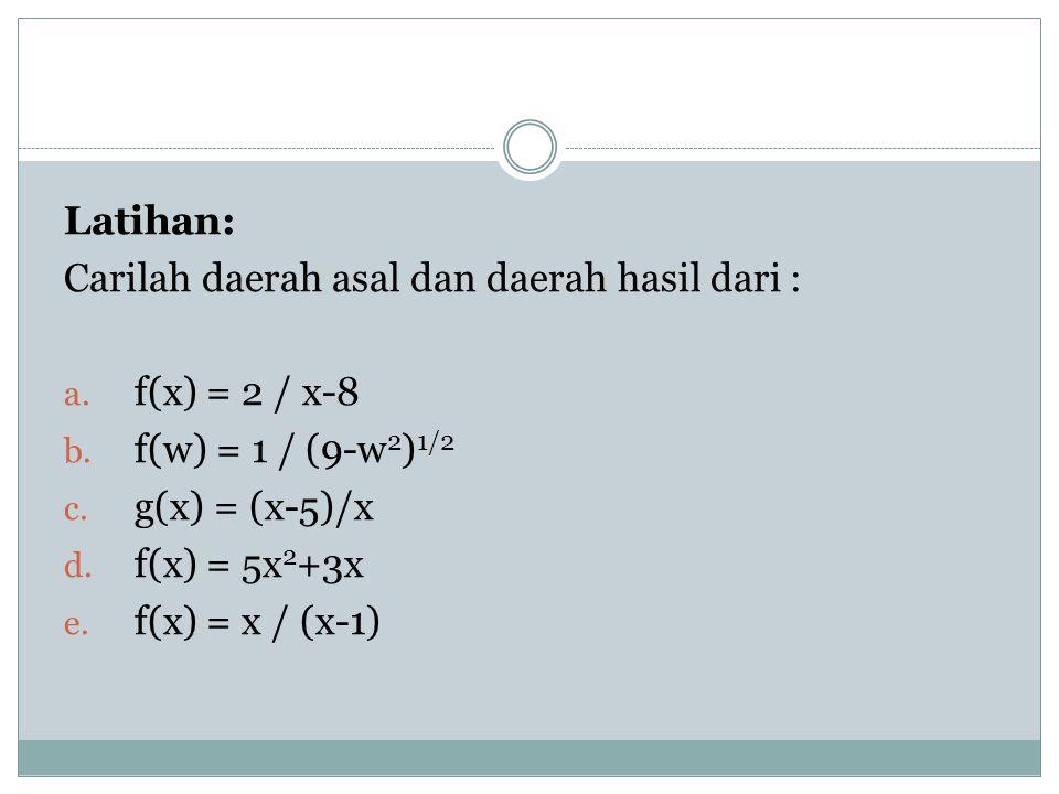 Latihan: Carilah daerah asal dan daerah hasil dari : a. f(x) = 2 / x-8 b. f(w) = 1 / (9-w 2 ) 1/2 c. g(x) = (x-5)/x d. f(x) = 5x 2 +3x e. f(x) = x / (
