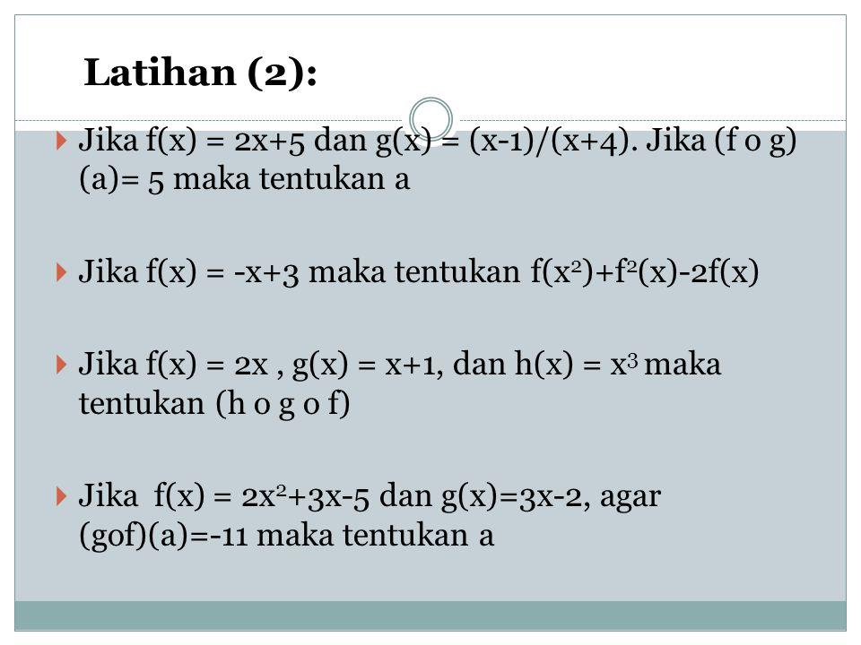 Latihan (2):  Jika f(x) = 2x+5 dan g(x) = (x-1)/(x+4). Jika (f o g) (a)= 5 maka tentukan a  Jika f(x) = -x+3 maka tentukan f(x 2 )+f 2 (x)-2f(x)  J