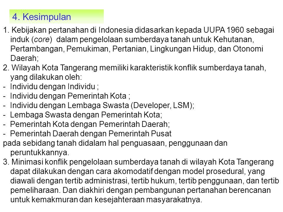 4. Kesimpulan 1. Kebijakan pertanahan di Indonesia didasarkan kepada UUPA 1960 sebagai induk (core) dalam pengelolaan sumberdaya tanah untuk Kehutanan