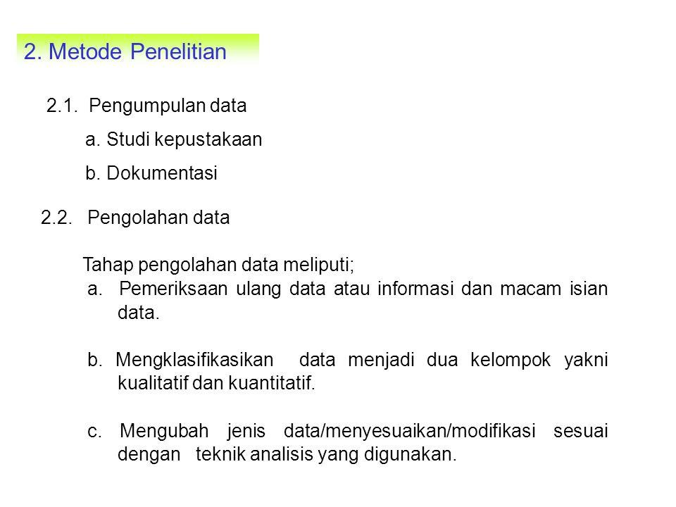 2. Metode Penelitian 2.1. Pengumpulan data a. Studi kepustakaan b. Dokumentasi 2.2. Pengolahan data Tahap pengolahan data meliputi; a. Pemeriksaan ula