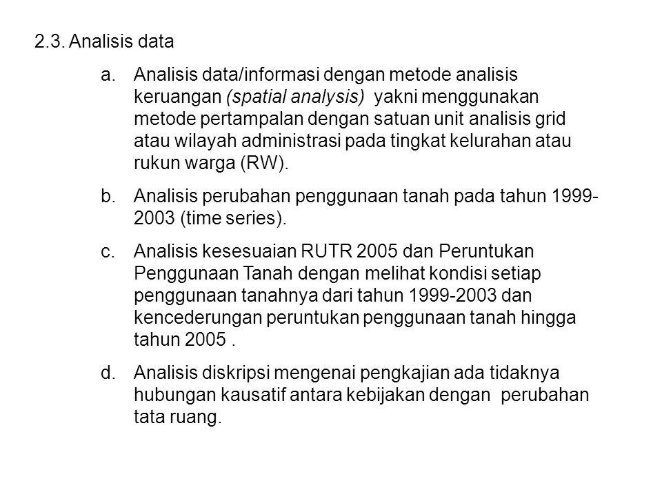 2.3. Analisis data a.Analisis data/informasi dengan metode analisis keruangan (spatial analysis) yakni menggunakan metode pertampalan dengan satuan un