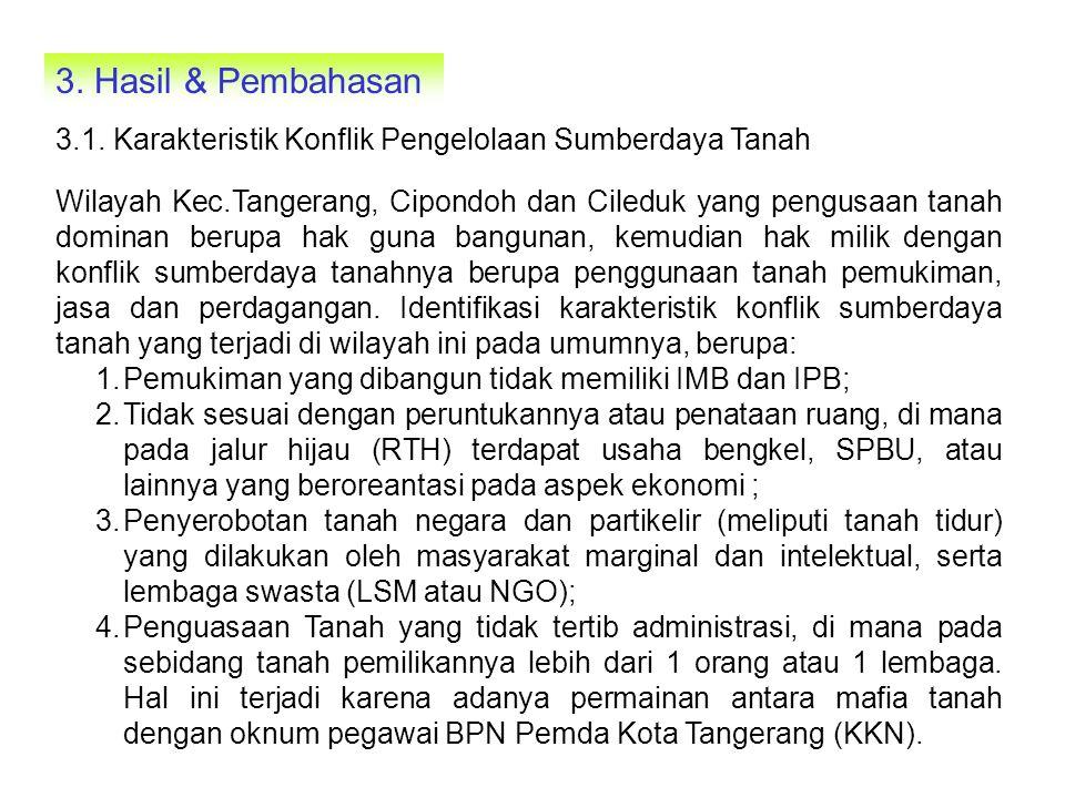 Wilayah Kec.Jatiuwung, Batuceper dan Benda, identifikasi karakteristik konflik pengelolaan sumberdaya tanah berupa: 1.Peruntukkan dan penggunaan sebidang tanah industri tidak sesuai dengan dokumen Analisis dampak lingkunganya (meliputi AMDAL dan ANDAL, RKL, dan RPL) dan Rencana Terinci Kota (RTK); 2.Pemukiman liar/ilegal yang kumuh (slum area) yang terdapat disepanjang tanggul sungai Cisadane dan jalan tol Tangerang-Jakarta- Merak; 3.Tidak terpenuhi ukuran tertib pemeliharaan pertanahan, misal untuk wilayah tanah usaha, lestari dan berkelanjutan, serta optimal; 4.Pada penggunaan tanah pertanian sawah yang kelas 1 (sangat baik) berubah fungsi sebagai wilayah bandara Sukarno-Hatta dan pemukiman terencana (development housing).