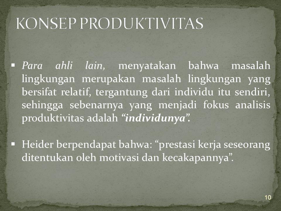 Menurut Kurt Lewin (Psikolog Jerman): Produktivitas merupakan fungsi dari kepribadian dan lingkungannya P = f (K,L).  Maksudnya, kalau suatu oganisas