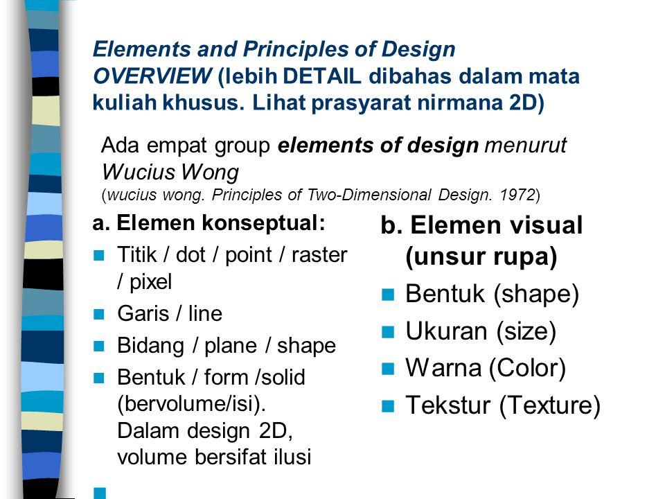 Elements and Principles of Design OVERVIEW (lebih DETAIL dibahas dalam mata kuliah khusus. Lihat prasyarat nirmana 2D) a. Elemen konseptual: Titik / d