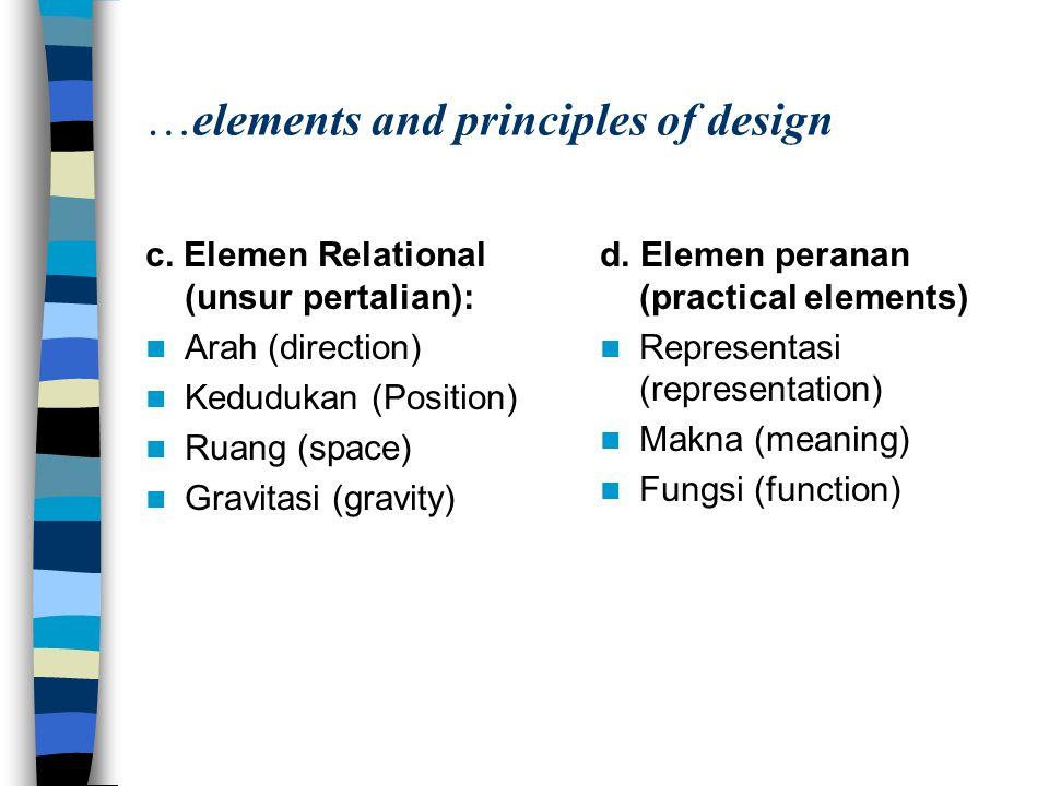 …elements and principles of design c. Elemen Relational (unsur pertalian): Arah (direction) Kedudukan (Position) Ruang (space) Gravitasi (gravity) d.