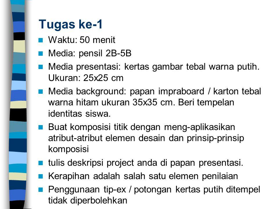 Tugas ke-1 Waktu: 50 menit Media: pensil 2B-5B Media presentasi: kertas gambar tebal warna putih. Ukuran: 25x25 cm Media background: papan impraboard